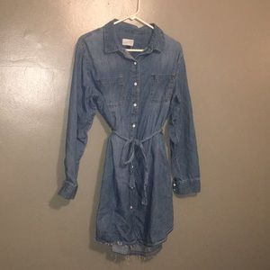 Gently distressed jean dress